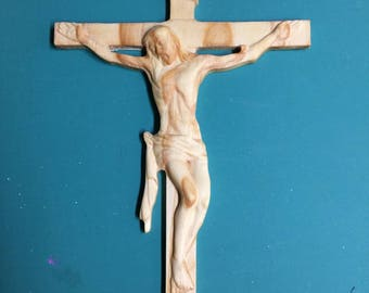 3D Carved Jesus On the Cross - Full Body Carving - Religious Jesus