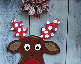 Rudolph door sign, Rudolph door hanger, Rudolph sign, reindeer door sign, reindeer sign, reindeer door hanger, Santa's helper sign, Santa