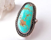 Big Turquoise Ring, Sterling Silver Ring, Native American Jewelry, Silver & Turquoise Jewelry, Statement Ring, Vintage Southwestern Jewelry