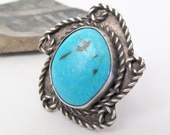 Big Turquoise Ring, Sterling Silver Ring, Southwestern Jewelry, Silver & Turquoise Jewelry, Vintage Southwestern Jewelry, Big Statement Ring