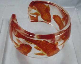 Orange Koi Resin Cuff Bracelets
