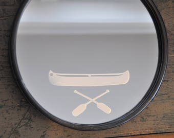 """Do you have a """"paddler"""" in your life?  This is the gift for them!  10"""" Porthole mirror on chain with hand etched canoe image."""
