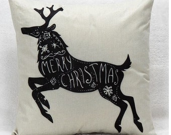 Black Merry Christmas Reindeer on Beige - Pillow Cover