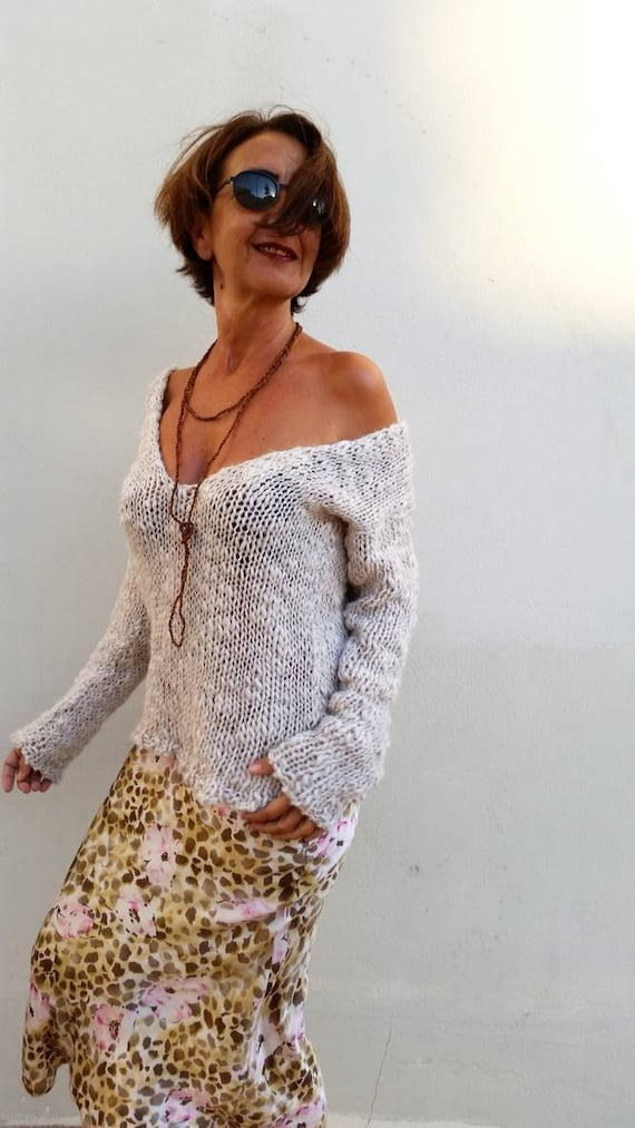 Knit sweater v-neck sweater off white sweater loose knit