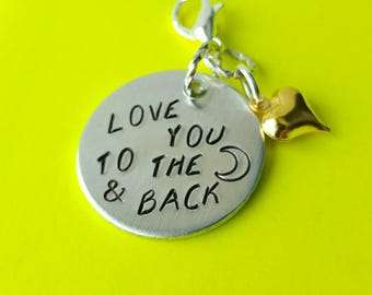 Love You to The Moon and Back handstamped aluminum planner charm with gold puffy heart
