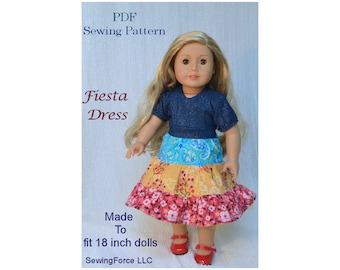 Fiesta Dress 18 inch doll dress clothes pattern pdf, American girl doll clothes   Pattern, Madame Alexander, pdf sewing Pattern