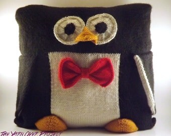 Hand-Knit Pillow - Knitted Penguin Pillow - Knit Penguin Pillow - Hand Knit Penguin Pillow