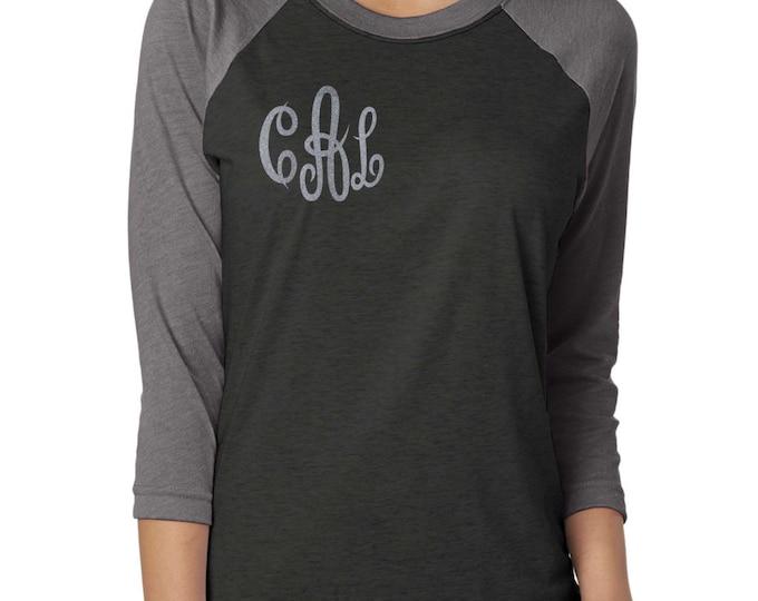 monogram raglan tee . Monogram baseball shirt . Monogram glitter shirt . Monogram Raglan .
