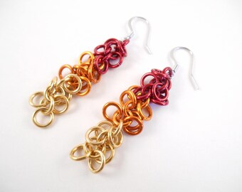 Ombre Fire Earrings - Long Ombre Fire Style Anodized Aluminum Shaggy Loops Chain Maille Earrings