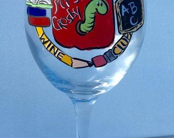 Teachers wine glass   personalized teacher wine glass   personalized wine glass   teacher gift   teacher christmas gift custom teacher logo