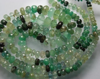 16 Inches Long Strand, Super Rare Large Size, Natural Emerald Shaded Faceted Rondelles Large Rondelles, 9-4mm