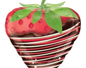 "18"" Inch Strawberry Foil Balloon, Birthday, Wedding, Party Decor ""Same Day Shipping"""