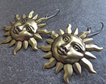 Large Antique Gold Brass Ox Sun Earrings - Hypoallergenic Titanium OR Gold Vermeil Ear Wires - Planet - Stars - Astrology - Boho - Gypsy