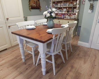Gorgeous Vintage shabby chic solid Pine table & 4 chairs