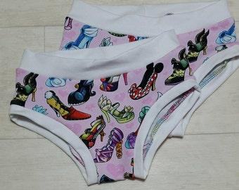 SALE 2-3y Shooz print Kids 'Happy Pants' handmade underwear age 2-3y girls boys