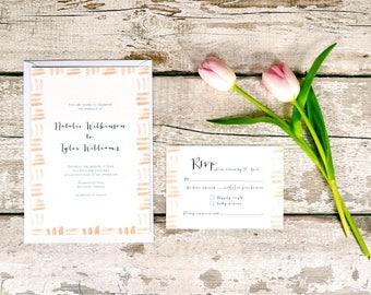 Delicate Days Wedding Invitation Set | Blush Watercolour Border Wedding Invite & RSVP | Sample set