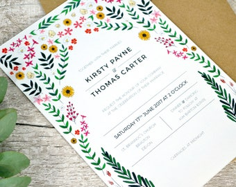 Floral kaleidoscope Invitation Set | Contemporary Floral Wedding Invite Insert + RSVP | Sample set