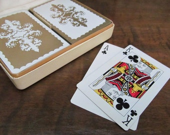 Duratone Super Stylish Hollywood Regency Playing Card Set and Caddy ~ 2 Deck Set ~ Mid Century
