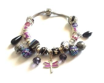 Purple bracelet, charm bracelet, bracelet, silver bracelet, murano bead bracelet, European bead bracelet
