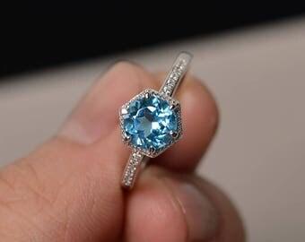 Swiss Blue Topaz Ring Engagement Ring Blue Gemstone Jewelry November Birthstone Ring