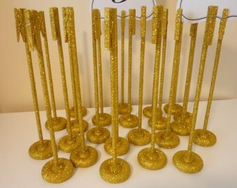 Set of 20 Handmade Extra Tall Glitter Gold Table Number Holders - Wedding Guest Table Number Stands -  Glimmering Rustic Elegance