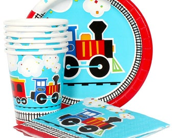Adorable Train Theme Birthday Party Celebration Pack Service For 16 - Includes Tablecover! Choo Choo Choo Choo