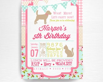 Girl Vintage Pet Birthday Party Printable Invitation YOU Print Pink Blue Floral Dog Cat Bunny