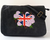 Black canvas messenger bag despatch bag college bag heart bag Union Jack bag shoulder bag cross body bag back to school work bag.