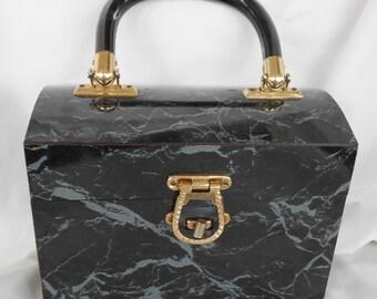 Vintage Lucite Marbleized Box Handbag/Purse