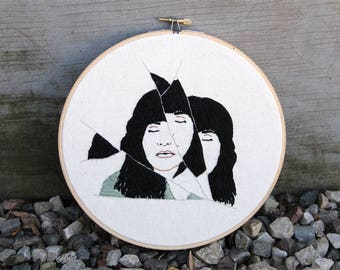 Finished artwork - Hoop Art - Black and Teal - Abstract Portrait - Mexican Art - Feminism - Modern Art - Wall Hanging - String Art