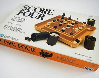Vintage Score Four Board Game - Lakeside Industries - 1974, No. 8325 - retro, family game, game night,classic, connect four, tic tac toe, 3D
