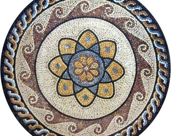 Round Marble Flower Mosaic - Lorea