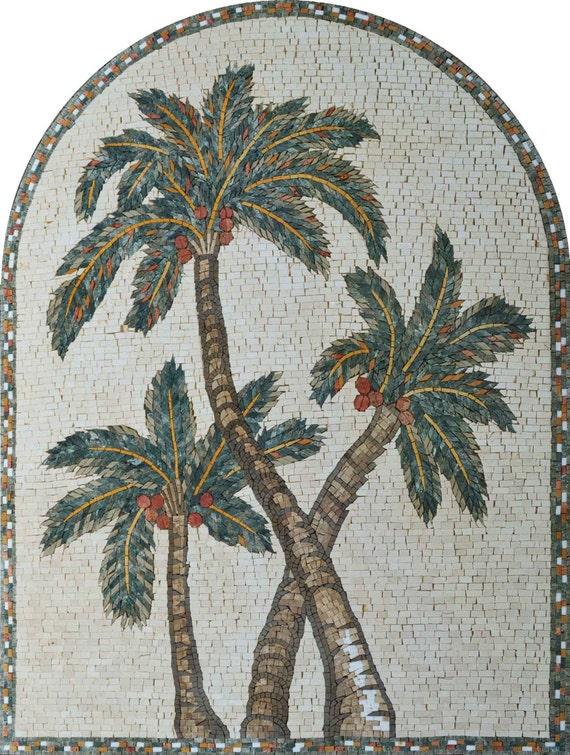 Mosaic Tile Patterns Leaf Of Palm Trees