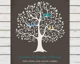 GRANDCHILDREN FAMILY TREE, Gift for Grandparents, Gift for Grandma, Gift for Nana, Family Tree With Grandchildrens Names, Grandkids Names