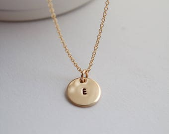 Gold disc necklace, gold filled, necklace, initial necklace, monogram jewelry, mother necklace, wedding accessory, bridesmaid gift
