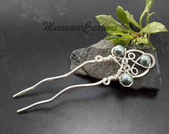 Celtic Hair fork, Hair bun Stick, Hair fork for long hair. pastel green shell pearl hair fork.Hair bun pick