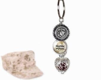 Marine Corps KeyChain Birthstone - Marine Girlfriend - Birthstone Cage Locket - Personalized Military Key Chain