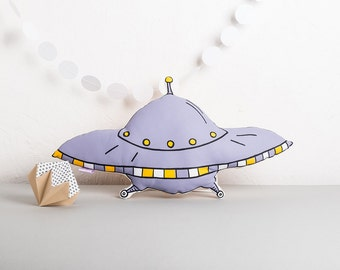 Flying Saucer Cushion, Screen Printed Plush UFO Plush Pillow, Alien Cushion