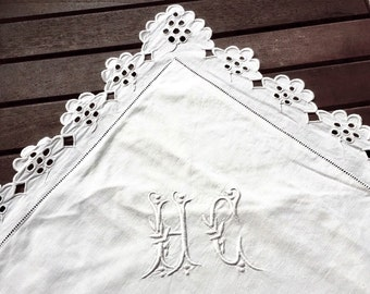 Old pair of white linen pillowcases, embroidered and scalloped, Monogram HC