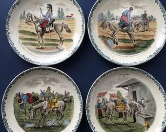 Vintage HBCM France, French Faience Plates, set of 4 - Cavaliers | Hippolyte Boulenger Creil et Montereau, equestrian decor, french soldiers