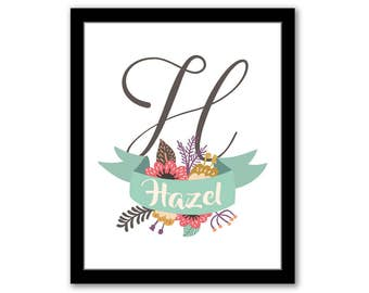 Custom Name Print, Floral Nursery Art, Personalized Nursery Art, Baby Shower Decor, Baby Name Art, Monogram Nursery Art, Initial Printable