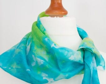 Green Spring inspiration, hand-painted silk scarf, free shipping