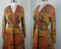 20% OFF SALE 70s Psychedelic Dress Paisley Long Sleeve Rhinestone Belted V-Neck Cocktail Dress M