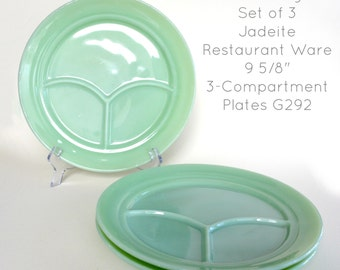 Fire-King Jadeite Set of 3 Restaurant Ware G292 3-Compartment Plates #0036