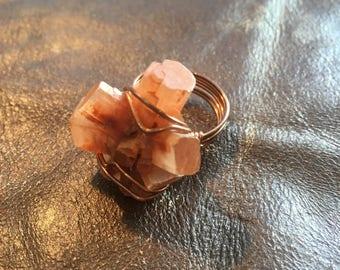 Aragonite Ring - Raw Crystal - Reiki Healing Boho Jewelry - Vintage Hippie Jewelry