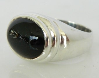 Black Onyx Sterling Silver Ring by Zina size 7.5