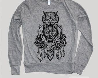 Wolf Sweatshirt(DEER OWL WOLF Totem)Wolf Clothing,Deer Sweatshirt- Wolf Sweater-Owl Sweatshirt Native American,instagram likes