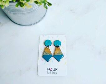 Luxe teal + gold glitter geometric dangle earrings