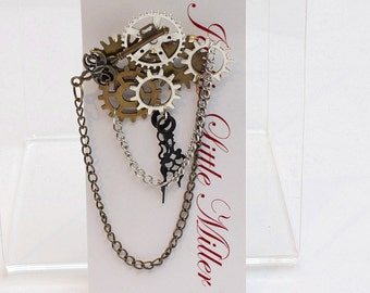 Steampunk Boutonniere Pins with clock hands Steam Punk Boutonnieres