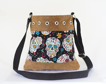 Sugar Skull Purse, Suede Leather, Crossbody or Over Shoulder Bag